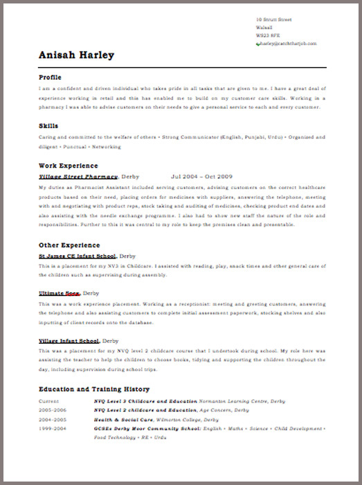 free - Free Samples Of Cv Resume