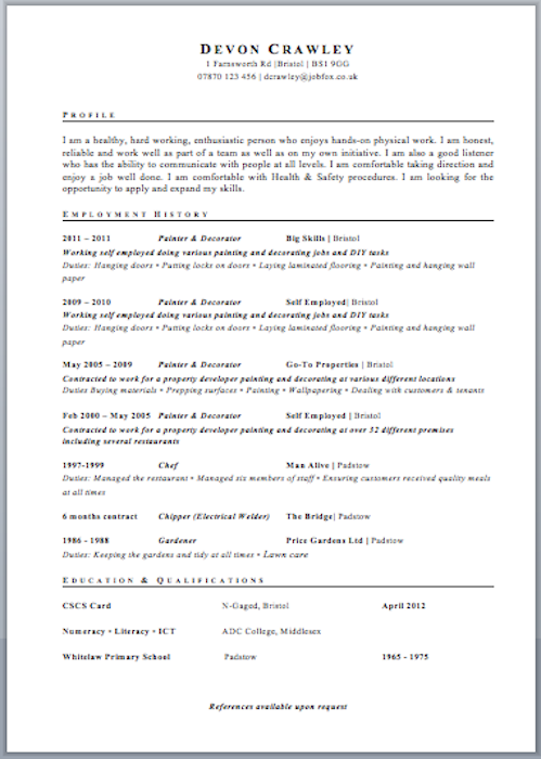 cv template free job cv example