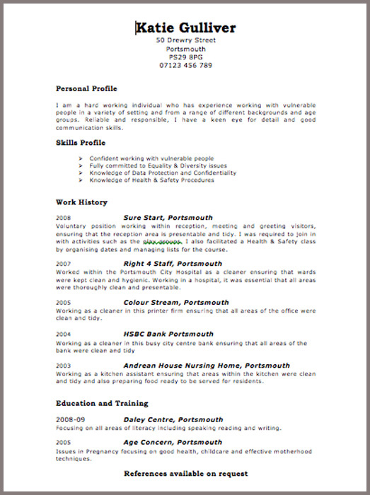 Cv examples uk free download « Foures