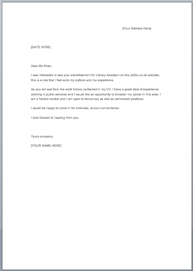 ... Templates Cover Letter Examples Job Fox Uk ...  Cover Letter Template For Job Application