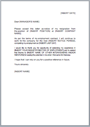 Resignation Letter Template UK - jobfox.co.uk
