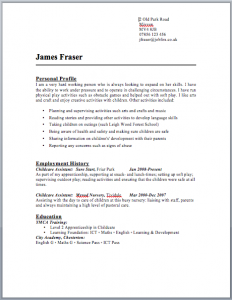 Childcare Nursery CV - jobfox.co.uk