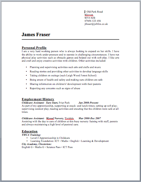 cv template uk word