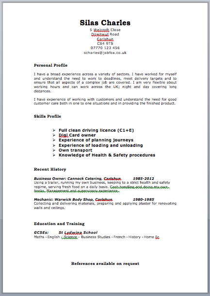 School Leaver CV Example   icover org uk