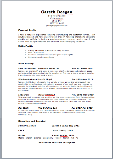 cv outline by free targeted cv template zone jobfox uk