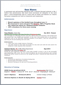 CV for School Leaver